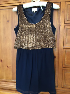 Rieley party dress with bronze/gold sequined overlay Size XS