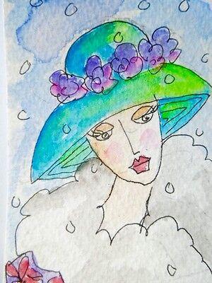 .ACEO original watercolour painting - Violets.