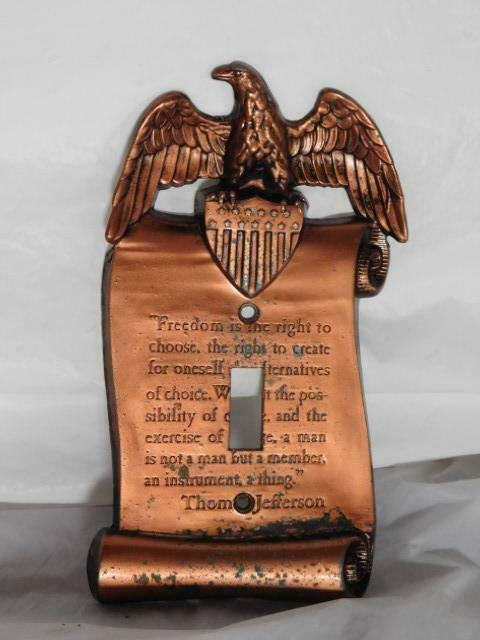 vintage American eagle light switch cover wall single plate Thomas Jefferson old