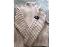 Stone Island cream mens wool jumper. Size Large