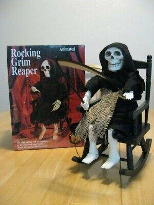 EUC~Gemmy~1994~animated Rocking Grim Reaper Halloween decor~manual rock only