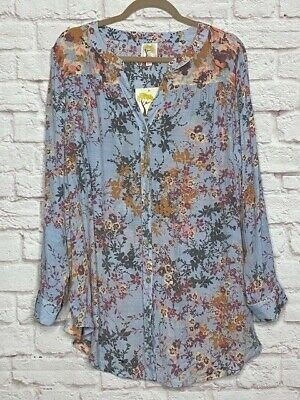XL/1X/2X New Anthropologie Floral Baby Blue Long Shirt Jacket Blouse Top