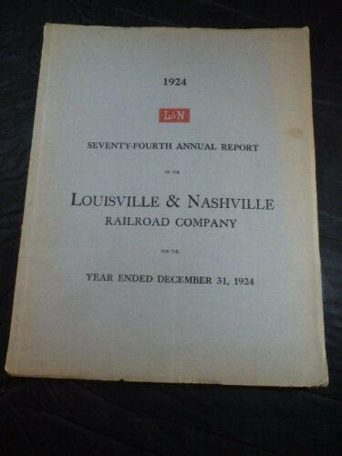 Vtg 1924 Louisville & Nashville Railroad Company Annual Report W/Map