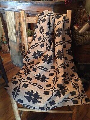 "Primitive Throw Blanket Black & Tan  52"" X 72""  Woven Blanket Afghan Lodge Cabin"