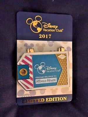 2017 Disney Vacation Club Luggage Tag Pin LTD Ed. DVC WDW Mickey Minnie Mouse