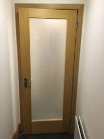 2 x solid oak doors with frosted glass