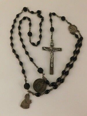 UNUSUAL ONYX STERLING SILVER ROSARY BEADS GERMANY TERESIA SIGNED M IN TRIANGLE