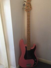 westfield bass guitar in pink excellent condition
