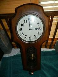 Vintage Welby Schoolhouse Quartz Wall Clock With Pendulum