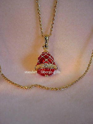 Russian Imperial Faberge Gold and Red Enameled EGG Pendant Necklace