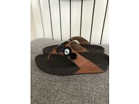 Ladies Brown Leather Genuine FITFLOP flip flop sandals - Size 8 - Very Good Condition