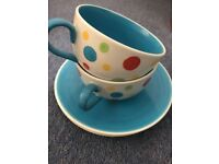 Set of 2 Whittards Tea cups and saucers