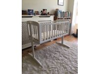 Mothercare wooden swing crib in white, very good condition