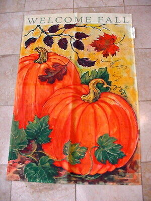 - WELCOME FALL Flag Banner Large 39x26 Poly Two Sided Design Pumpkins Leaves Falli