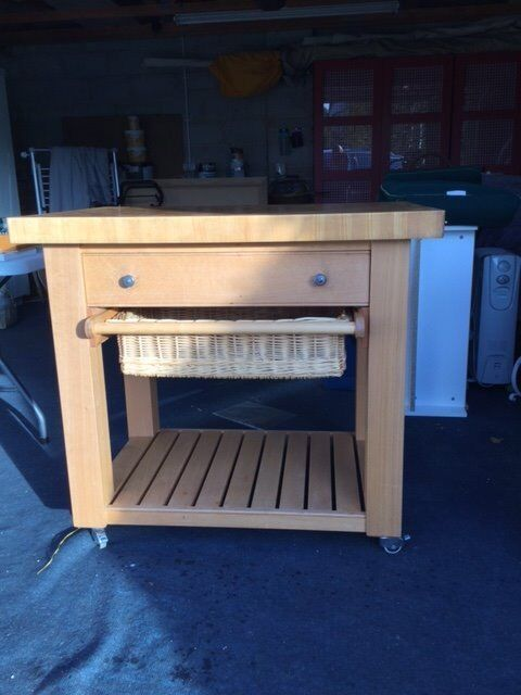 Butchers block kitchen trolley. Very good condition. End grain top with drawer and basket.