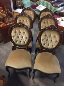 F38022 Vintage and French Style Set of 6 Dining Chairs Velvet Mount Barker Mount Barker Area Preview