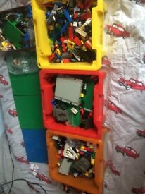 BOXES FULL OF LEGO AND THREE BOARDS