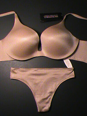 2-pc set Victoria's Secret INCREDIBLE bra-32D push-up nude thong-S or L NWT Fit Nudes Push Up Bra
