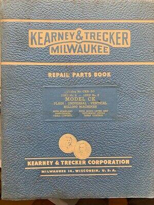 Kearney Trecker Repair Parts Book Model Ck Milling Machines Original Rare