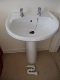 Washbasin, pedestal, waste and taps