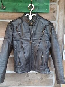 Ladies Leather Motorcycle Jacket, Chaps and Helmet