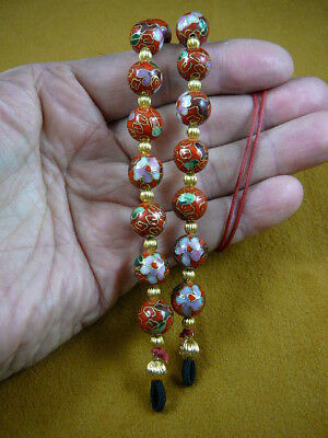 #E-66-122)  Red Cloisonné Eyeglass leash holder gold necklace lanyard beaded