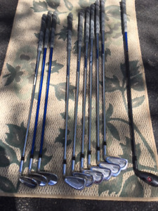 Adams Pro Gold forged irons:  DHY hybrid 4 iron, 5-PW with GW/SW