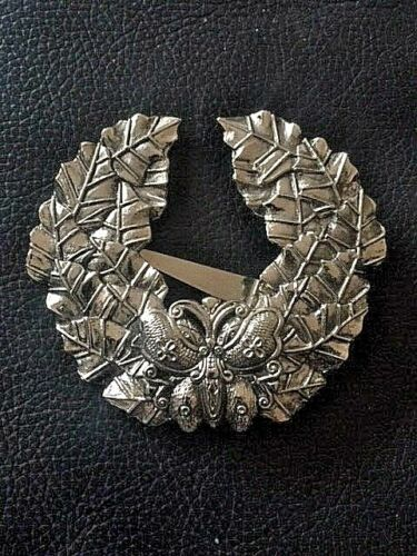 SYLVIA DAHL SIGNED SCARF CLIP ON BUTTERFLY WREATH Silver Large