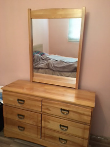3 Piece Solid Maple Bedroom - double bed, dresser & desk