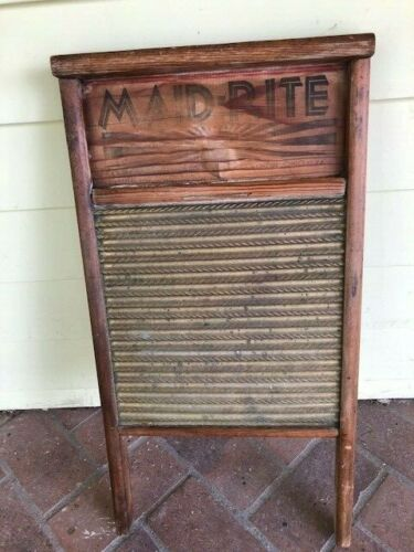 "Antique Vintage Wood Brass Washboard Maid Rite 24"" x 12"""