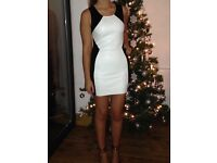 Black and white, leather look dress, size 12