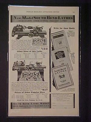 Old Vintage South Bend Machinist Tool Machine Lathe 1930 Art Print Ad Antique