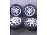 """Proton Savvy 15"""" alloy wheels and tyres."""