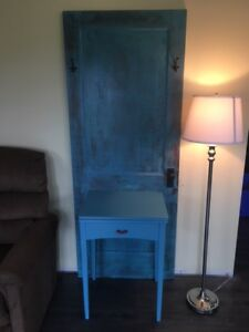 antique sewing table and 100 year old door