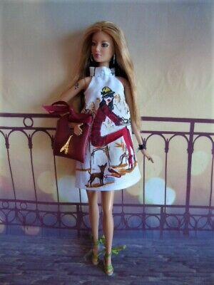 Vêtements poupées Barbie, Fashion Royalty, Poppy Parker, robe motif girly sac