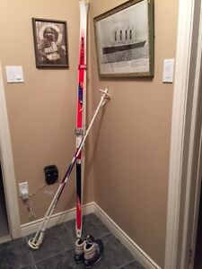 X country skis, boots and poles