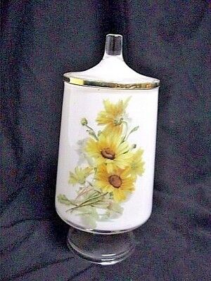 Vintage Hand Painted Frosted Glass Container Jar Floral Fenton? 9 1/2""