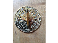 SUN DIAL Solid Brass Round 9.5cm x 6.5cm New but dulled as stored for quite a long time in garage