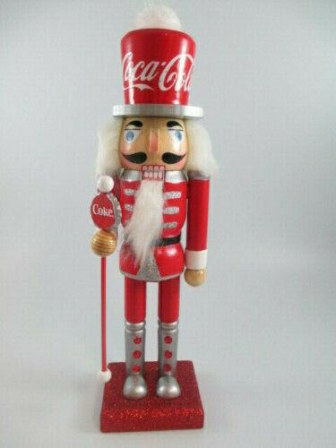 "Coca-Cola Kurt Adler Wooden 10"" Nutcracker Decoration Holiday Christmas"