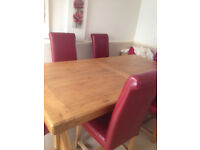 Large Oak Table and Scroll back leather dining chairs