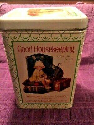 Vintage 1980s LIDDED GOOD HOUSEKEEPING TIN PARCO Repro 1926 Image Cheinco USA