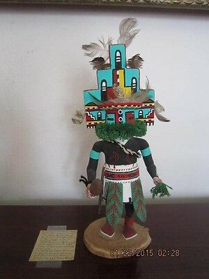 "Vintage Hand Carved Hopi 14"" HEMIS Kachina Doll ""Home Dance"" by Arthur Yowytewa, used for sale  Belen"