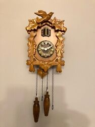 Kendal Handcrafted Wood Cuckoo Clock, battery operated, mechanical singing bird