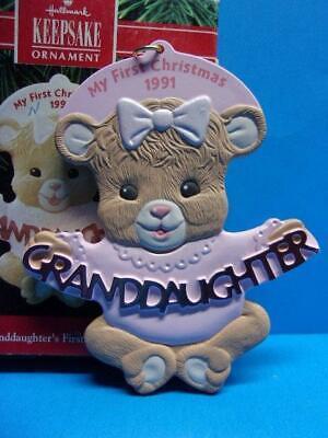 Hallmark 1991 GRANDDAUGHTER'S FIRST CHRISTMAS Ornament Bear 1st in Box ()