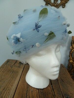 VINTAGE DON ANDERSON NEW YORK UNION MADE TULLE BLUE FLORAL LADIES HAT
