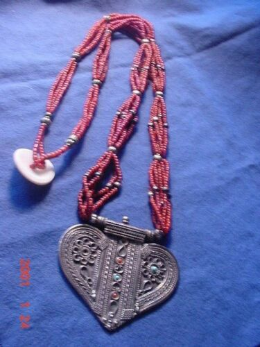 CENTRAL ASIAN ETHNIC NECKLACE WITH MULTI STRANS OF CARNALINE D