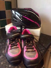 Ladies Muddy Fox cycling shoes & helmet