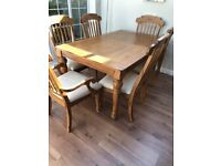 Solid wood expandable dining table and 6 chairs - collection only