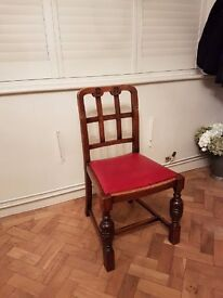 Oak dining chairs with red leather seat