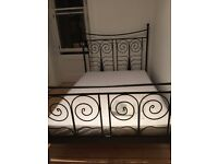 vintage style black metal double bed with slatted base